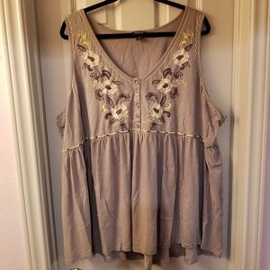 Torrid Grey Embroidered Baby Doll Tank